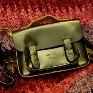 Designer ZARA Black Leather Satchel Bag Purse Nice